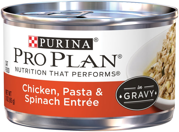 Purina Pro Plan Savor Adult Chicken, Pasta and Spinach Entree in Gravy Canned Cat Food