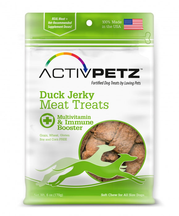 Loving Pets AcitvPetz Grain Free Duck Jerky Multivitamin and Immune Maintenance Dog Treats
