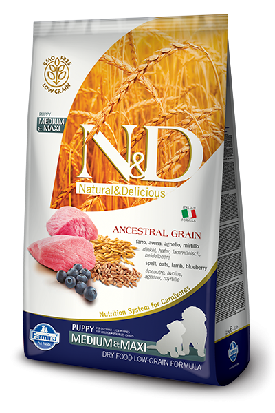 Farmina N&D Natural and Delicious Low Grain Medium & Maxi Puppy Lamb & Blueberry Dry Dog Food