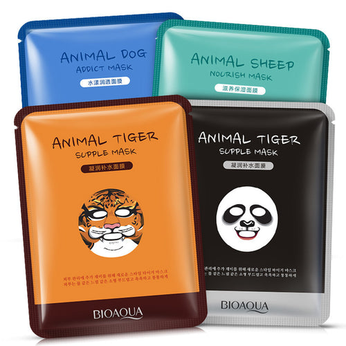 Moisturizing Face Mask Sheet Enriched with Natural Serum for Radiant and Nourished Skin. At Home Spa Facial with Fun Animal Characters: Panda, Tiger, Sheep, Dog