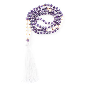 Amethyst and White Agate gemstone mala beads | KAIMALA jewels