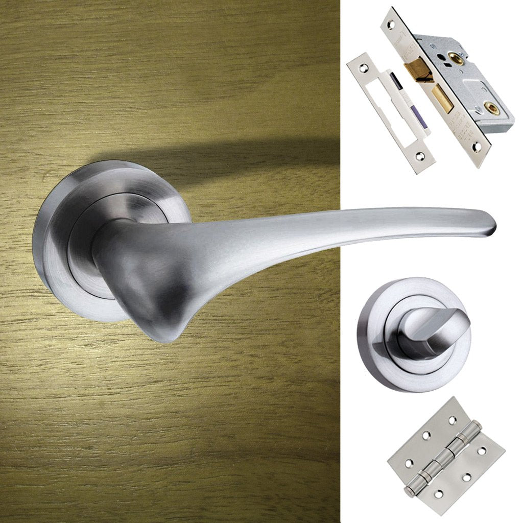 Marseille Mediterranean Bathroom Lever On Rose - Satin Nickel Handle Pack