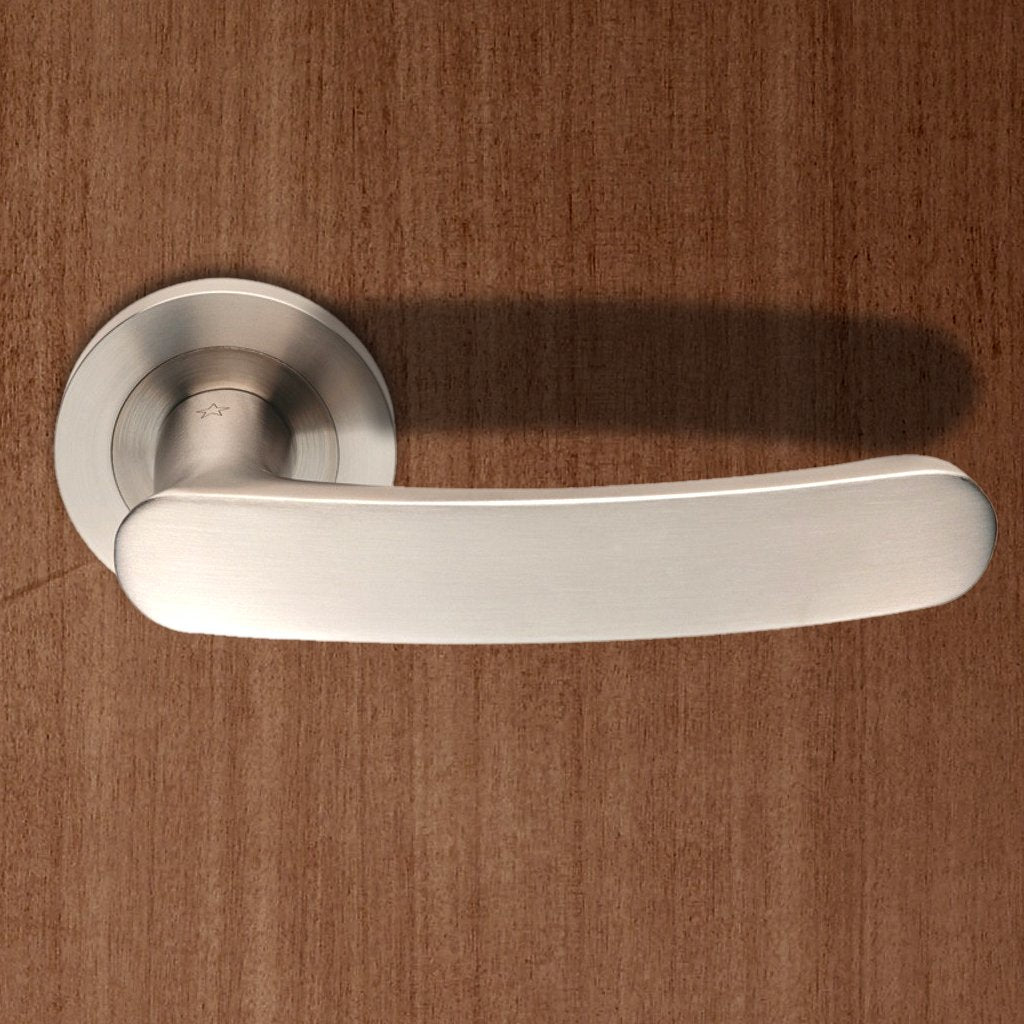 Steelworx SWL1132 Berlino Lever Latch Handles on Round Rose
