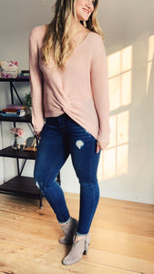 Spring Pink Twisted Knot V-neck Sweater - Lyla Taylor Boutique