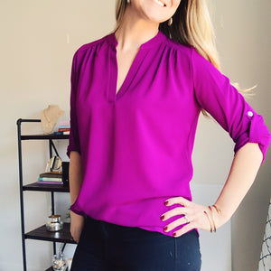 Say It Simply Magenta V-neck Blouse - Lyla Taylor Boutique