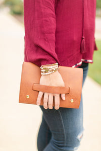 Saddle Brown Meant to Be Mine Clutch - Lyla Taylor Boutique