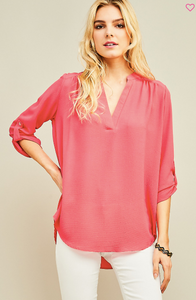Say It Simply Coral V-neck Blouse