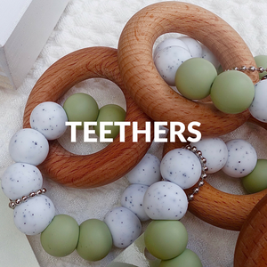 wooden teether - silicone teether - teething ring - teething toys