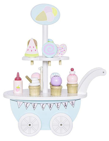 Childrens toys - pretend play - wooden toys - wooden ice cream trolley