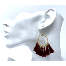 Burgundy Thread Tassel Circle Drop Fashion Earrings