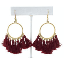 Burgundy Thread Tassel Circle Dangle Earrings For Women