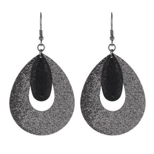 Gray & Black Teardrop Dangle Earrings - Fashion Jewelry