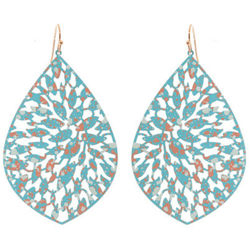 Turquoise Filigree Teardrop Dangle Earrings