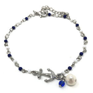 Nautical Anchor Charm Beaded Anklet with Pearl Accent - Beach Anklet