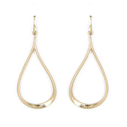 Worn Gold Teardrop Dangle Earrings - Fashion Jewelry Earrings For Women