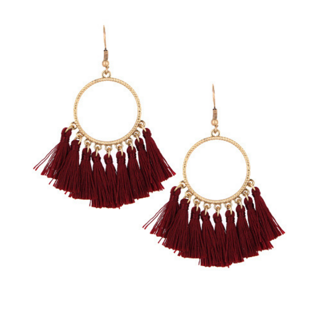 Burgundy Thread Tassel Circle Dangle Earrings