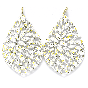 White Filigree Metal Teardrop Statement Earrings