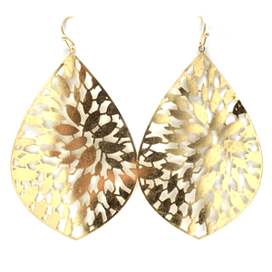 Worn Gold Filigree Metal Teardrop Statement Earrings