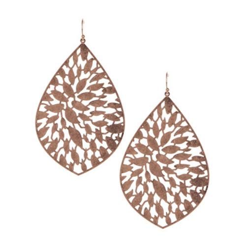 Rose Gold Teardrop Filigree Chandelier Earrings For Women - Fashion Jewelry