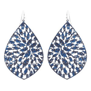 Worn Silver Navy Teardrop Filigree Statement Earrings For Women - Fashion Jewelry