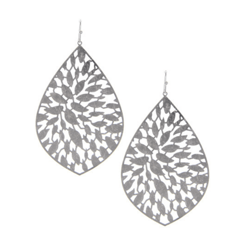 Silver Teardrop Filigree Statement Earrings For Women - Fashion Jewelry