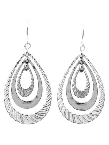 Silver Hammered Teardrop Twist Dangle Earrings - Fashion Earrings For Women