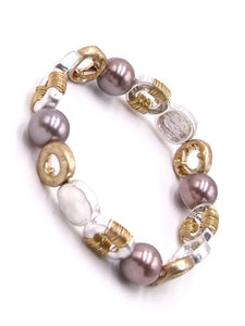 Hammered Gold & Silver Pearl Stretch Bracelet