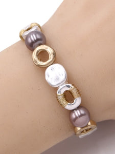 Hammered Gold & Silver Pearl Stretch Bracelet - Costume Jewelry