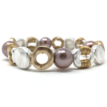 Hammered Gold & Silver Pearl Stretch Bracelet - Fashion Jewelry