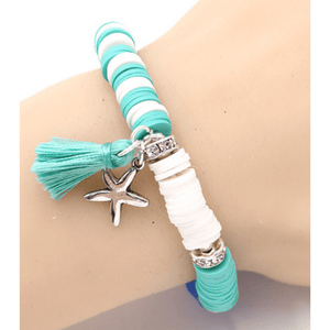 Starfish Circle Bead Stretch Bracelet With Tassel - SeaSpray Jewelry