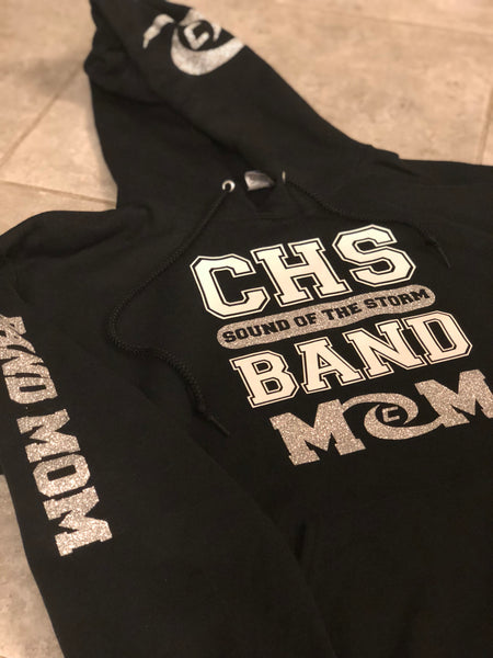 Personalized Black Glitter Band Mom CHS Sound of the Storm Band Hoodie