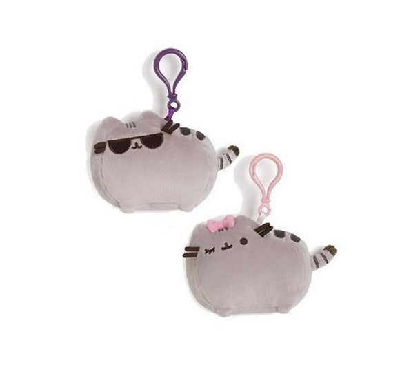 Gund Pusheen Clip-on Backpack  Cat with Bow &  Cat with Sunglasses SET of 2