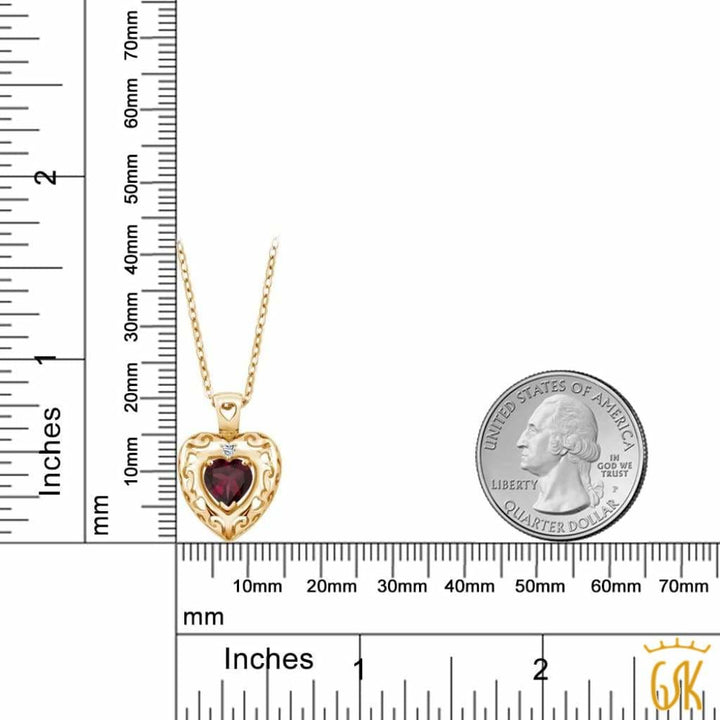 0.74 Ct Red Rhodolite Garnet White Topaz 18K Yellow Gold Plated Silver Pendant - Jewelry