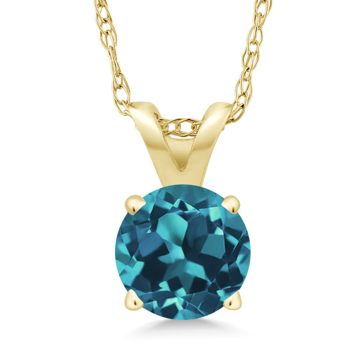 Gem Stone King 0.50 Ct Round London Blue Topaz 14K Yellow Gold Pendant With Chain