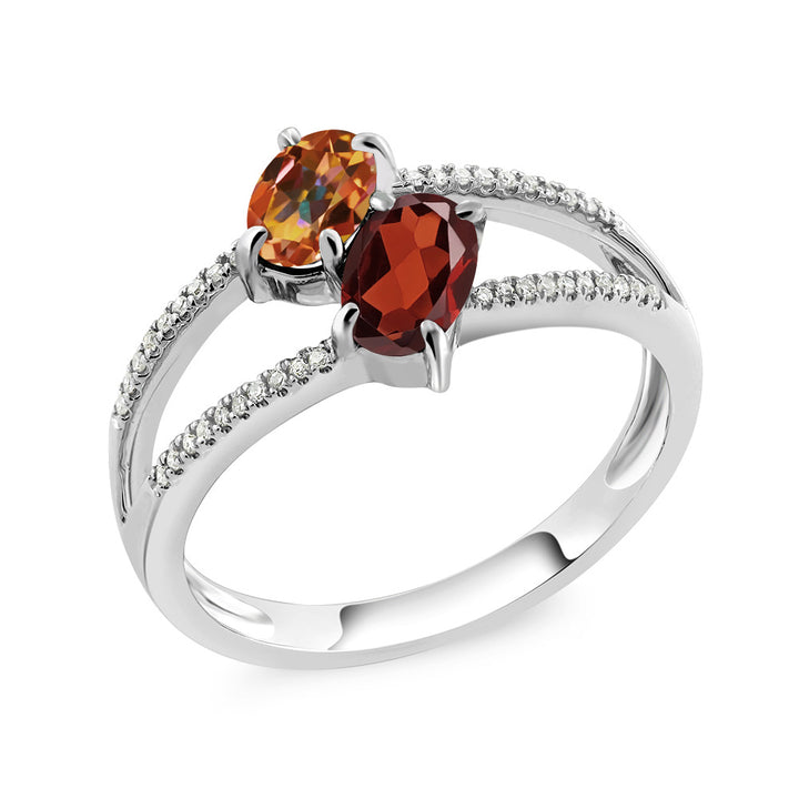 Gem Stone King 10K White Gold 1.28 Ct Oval Ecstasy Mystic Topaz Red Garnet 2 Stone Ring