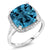 8.54 Ct Cushion London Blue Topaz White Diamond 10K White Gold Ring