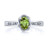 0.52 Ct Oval Green Peridot White Topaz 925 Sterling Silver Ring