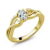 Gem Stone King 0.43 Ct Oval Sky Blue Aquamarine 18K Yellow Gold Plated Silver Ring (Available 5,6,7,8,9)