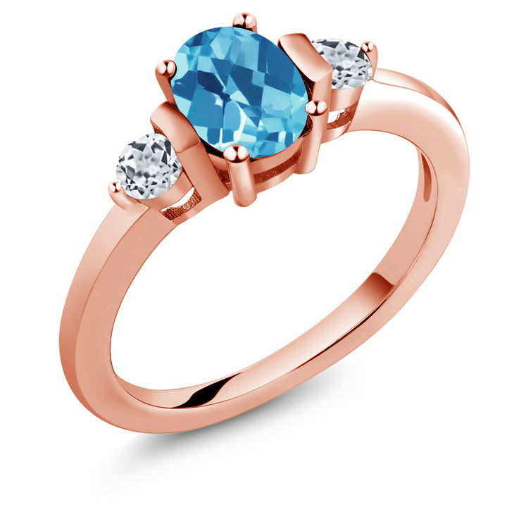Gem Stone King 1.23 Ct Oval Swiss Blue Topaz White Topaz 18K Rose Gold Plated Silver Ring