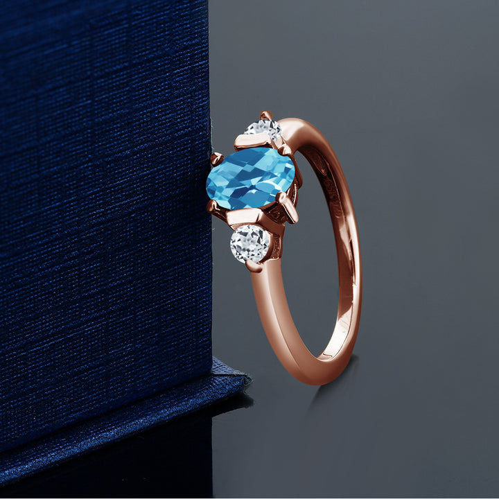 1.23 Ct Oval Swiss Blue Topaz White Topaz 18K Rose Gold Plated Silver Ring