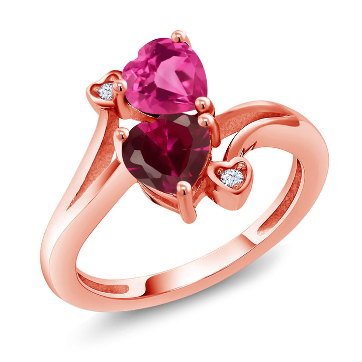Gem Stone King 1.79 Ct Pink Created Sapphire Red Created Ruby 18K Rose Gold Plated Silver Ring