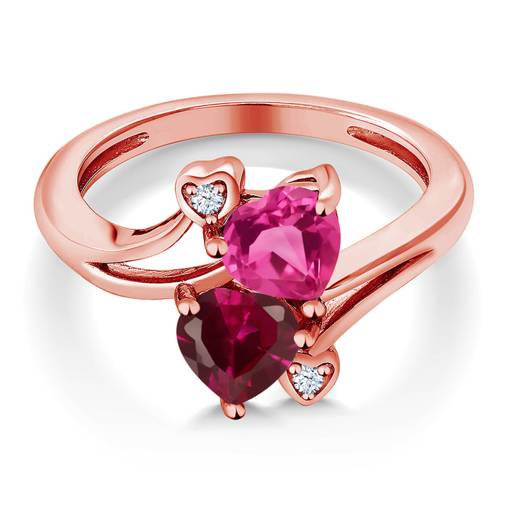 1.79 Ct Pink Created Sapphire Red Created Ruby 18K Rose Gold Plated Silver Ring