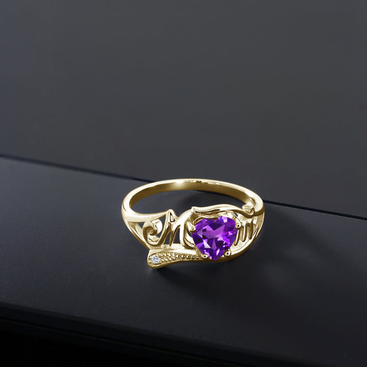 0.66 Ct Purple Amethyst White Topaz 18K Yellow Gold Plated Silver MOM Ring