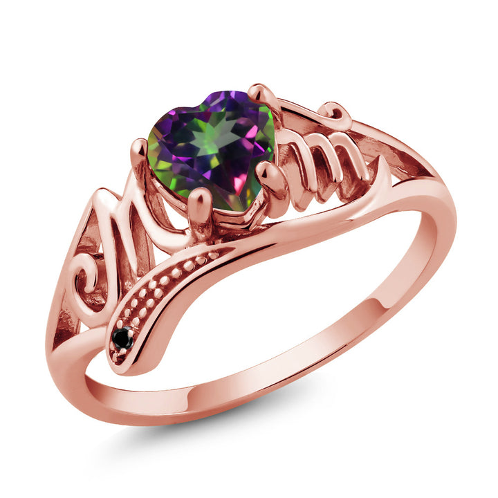 Gem Stone King 0.96 Ct Green Mystic Topaz Black Diamond 18K Rose Gold Plated Silver Ring