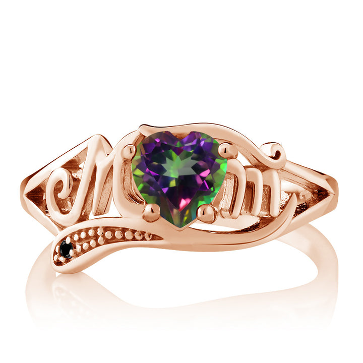 0.96 Ct Green Mystic Topaz Black Diamond 18K Rose Gold Plated Silver MOM Ring