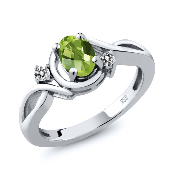 Gem Stone King 0.92 Ct Oval Checkerboard Green Peridot White Diamond 925 Sterling Silver Ring