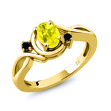 Gem Stone King 0.87 Ct Canary Mystic Topaz Black Diamond 18K Yellow Gold Plated Silver Ring