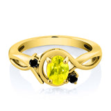 0.87 Ct Canary Mystic Topaz Black Diamond 18K Yellow Gold Plated Silver Ring