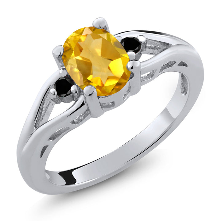 Gem Stone King 1.17 Ct Oval Yellow Citrine Black Diamond 925 Sterling Silver 3 Stone Ring