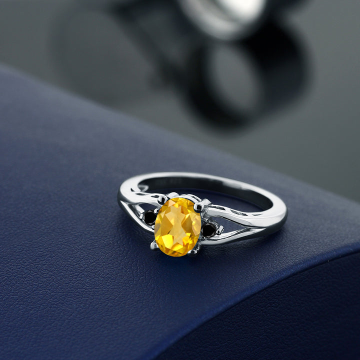 1.17 Ct Oval Yellow Citrine Black Diamond 925 Sterling Silver Ring